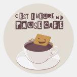 Café de la pausa etiquetas redondas
