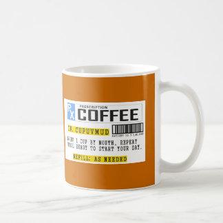 Café de la prescripción taza básica blanca