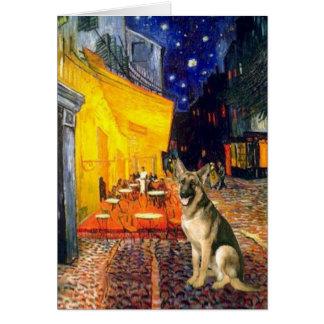 Café de la terraza - pastor alemán 2 tarjeta de felicitación