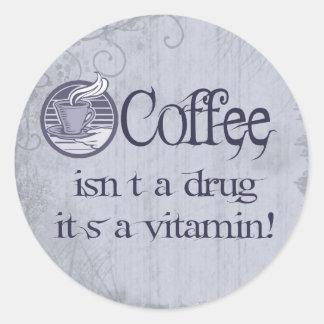 Café de la vitamina pegatina redonda
