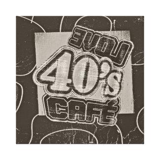 Café de los años 40 del amor del vintage - lona en impresión en lona estirada