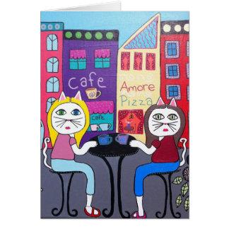 Café de los gatos de la tarjeta de felicitación
