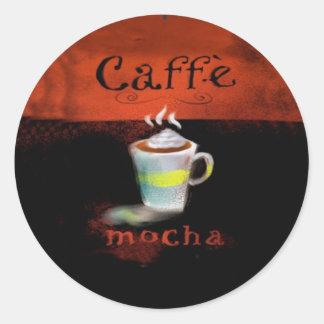Café de los pegatinas de la moca de Caffe Pegatina Redonda