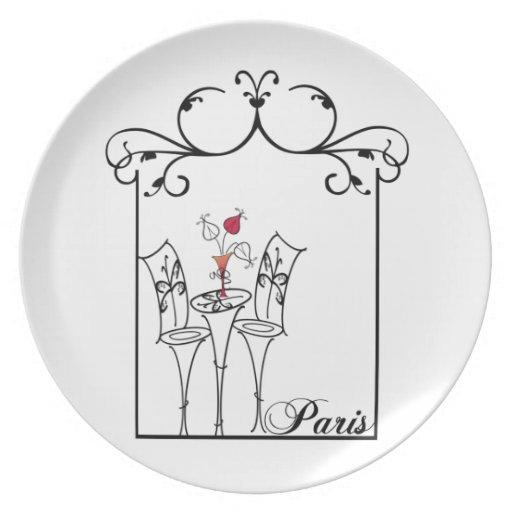Café de París con el marco del vintage Platos De Comidas