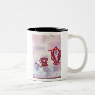 Cafe Deco - cricketdiane homespun coffee art Two-Tone Coffee Mug