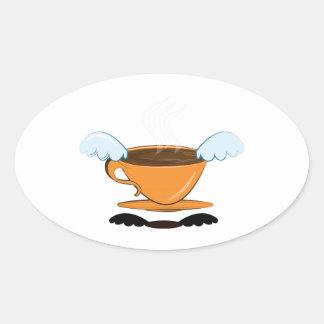 Café del ala calcomania de oval