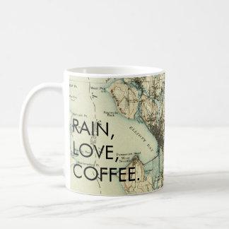 Café del amor de la lluvia de Seattle del vintage Taza De Café