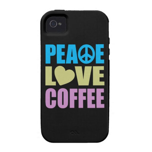 Café del amor de la paz Case-Mate iPhone 4 carcasa