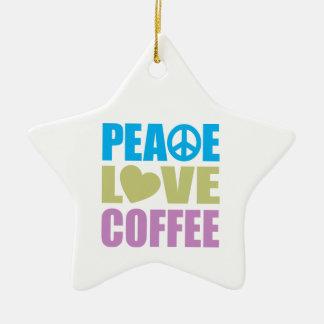 Café del amor de la paz adornos de navidad