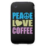 Café del amor de la paz iPhone 3 tough protector