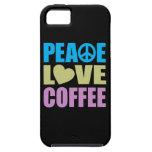 Café del amor de la paz iPhone 5 Case-Mate cárcasa