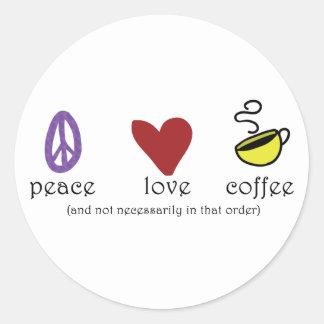 Café del amor de la paz etiqueta redonda