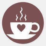 Café del amor pegatinas redondas
