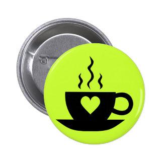 Café del amor pin redondo de 2 pulgadas