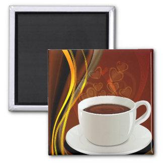 Café del arte del café imán cuadrado