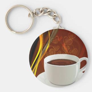 Café del arte del café llavero redondo tipo pin