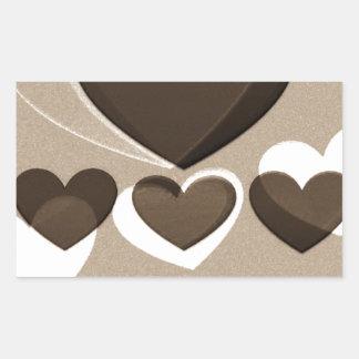 Café del arte el del corazón para dos rectangular pegatinas
