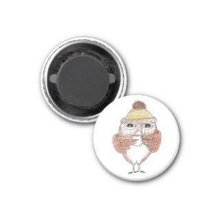 Café del búho imán redondo 3 cm