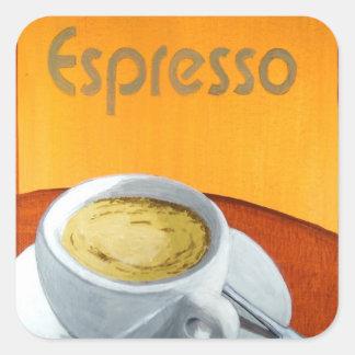 Café del café express del vintage pegatina cuadrada