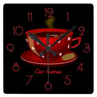 Café del café rojo y negro personalizado reloj cuadrado