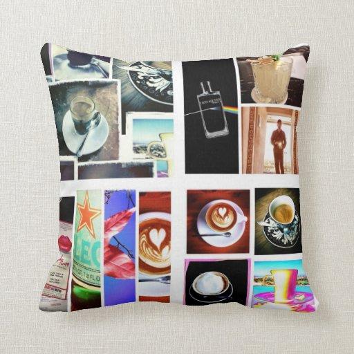 Café del collage de la caída almohada