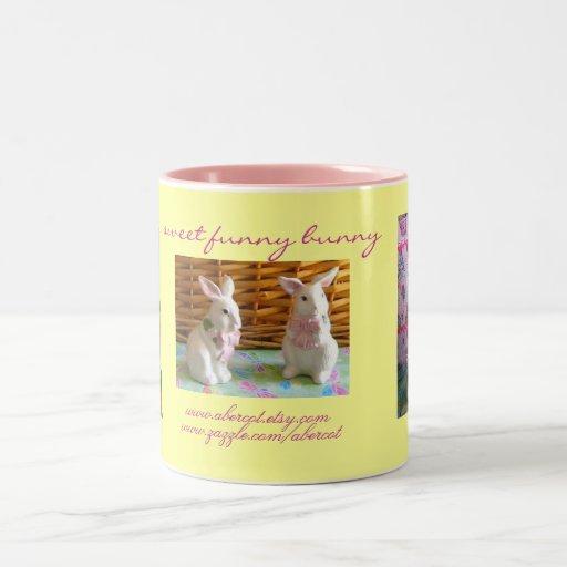 Café del conejito y taza divertidos dulces del té