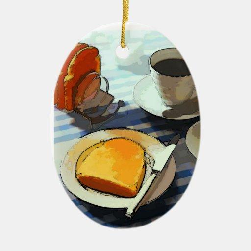 Café del desayuno adorno ovalado de cerámica