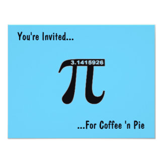 """Café del día del pi y personalizar del ~ de la invitación 4.25"""" x 5.5"""""""
