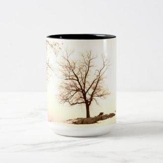 Café del invierno taza de dos tonos