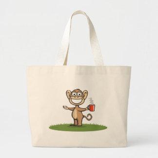 Café del mono bolsa tela grande