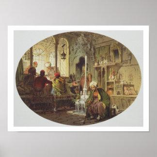 Café del otomano, 1862 (litho del color) póster