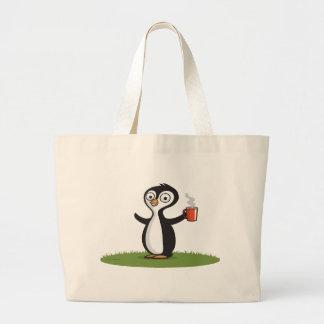 Café del pingüino bolsa tela grande