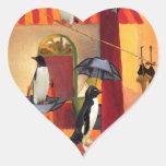Café del pingüino pegatina corazon personalizadas