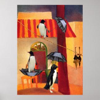 Café del pingüino póster