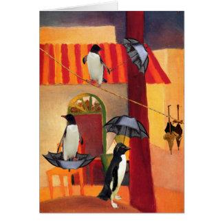 Café del pingüino tarjeta de felicitación