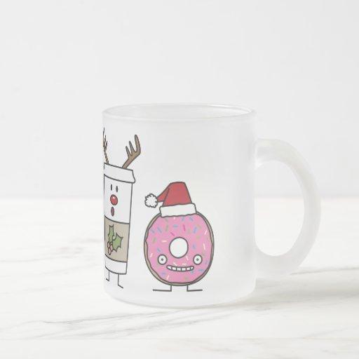 Café del reno del navidad y buñuelo de Santa Tazas