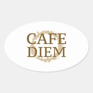 Cafe Diem Oval Sticker