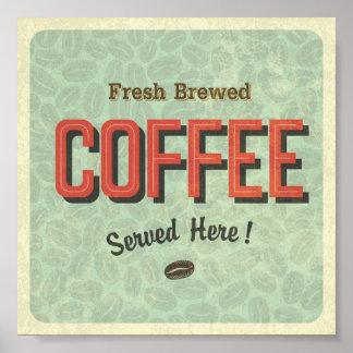 Café elaborado cerveza fresco servido aquí póster