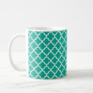 Café elegante geométrico de la teja marroquí azul taza clásica