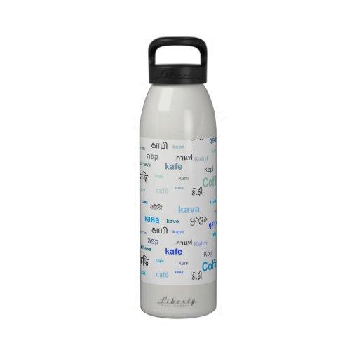 Café en diversos lanuages botellas de agua reutilizables