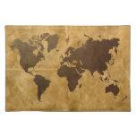 Café en el mapa del mundo de papel de la mirada manteles individuales