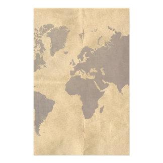 Café en el mapa del mundo de papel del estilo  papeleria de diseño