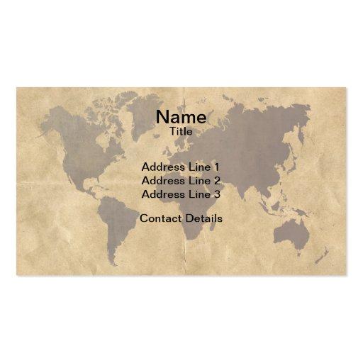 Café en el mapa del mundo de papel del estilo tarjetas de visita