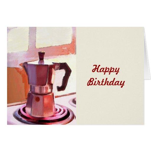 Café en la estufa tarjeta de felicitación