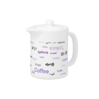 Café en la otra cafetera de las idiomas - púrpura
