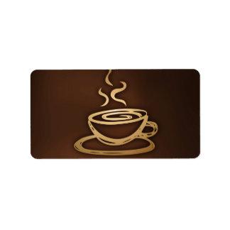 Café en mi taza etiqueta de dirección
