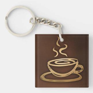Café en mi taza llavero cuadrado acrílico a una cara