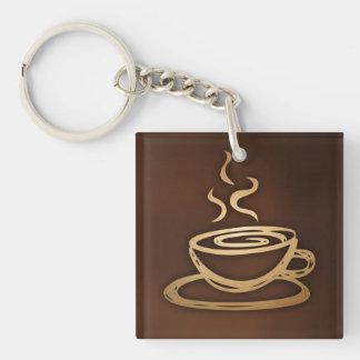 Café en mi taza llavero cuadrado acrílico a doble cara