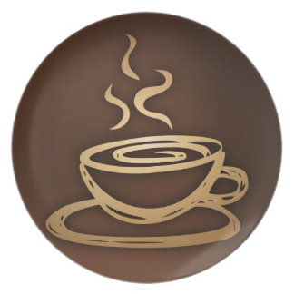 Café en mi taza plato para fiesta