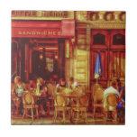 Café en París Francia por el mac de Shawna Azulejos